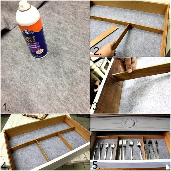 how to replace old felt in a silverware drawer.