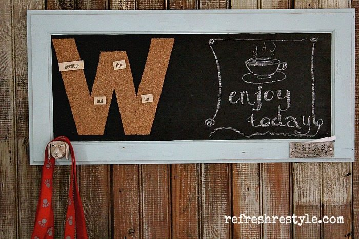Directions included monogrammed chalkboard