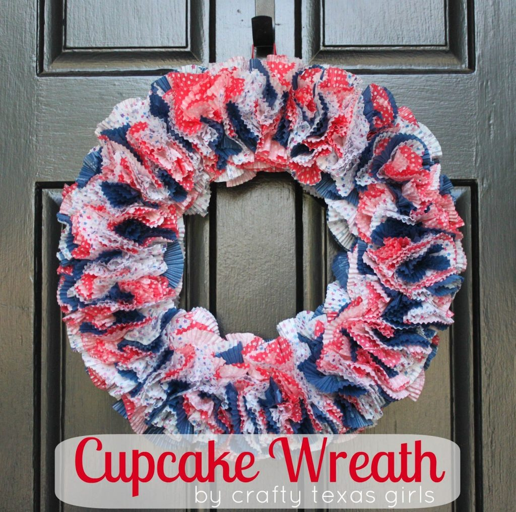 09 - Crafty Texas Girls - Red White and Blue Cupcake Wreath