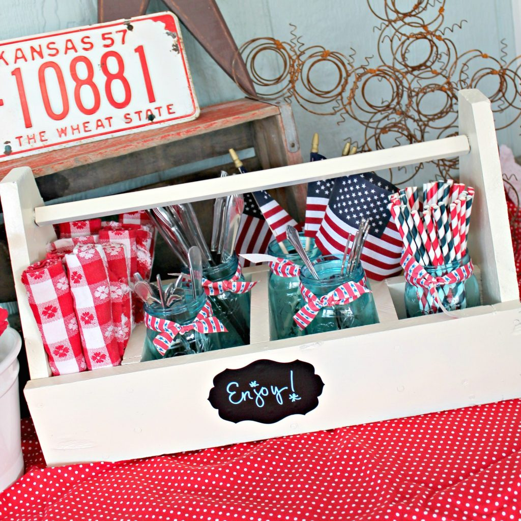 11 - One Krieger Chick - Red White and Blue Entertaining Caddy