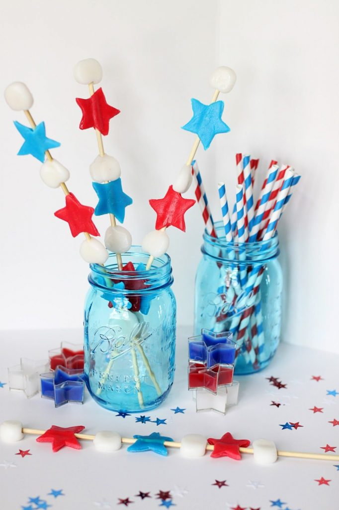 17 - Sugar Bee Crafts - Red White and Blue Candy Kabobs