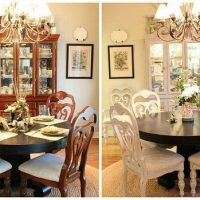 Before and after painting dining chairs