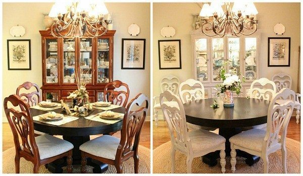 before and after painting dining chairs - Painting Dining Room