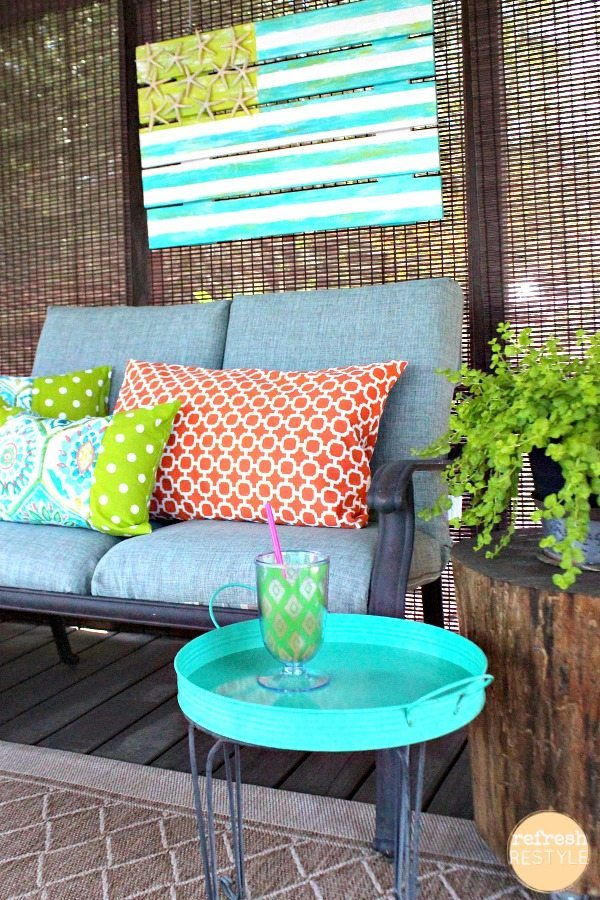 Refreshing space on the dock with beautiful summer colors