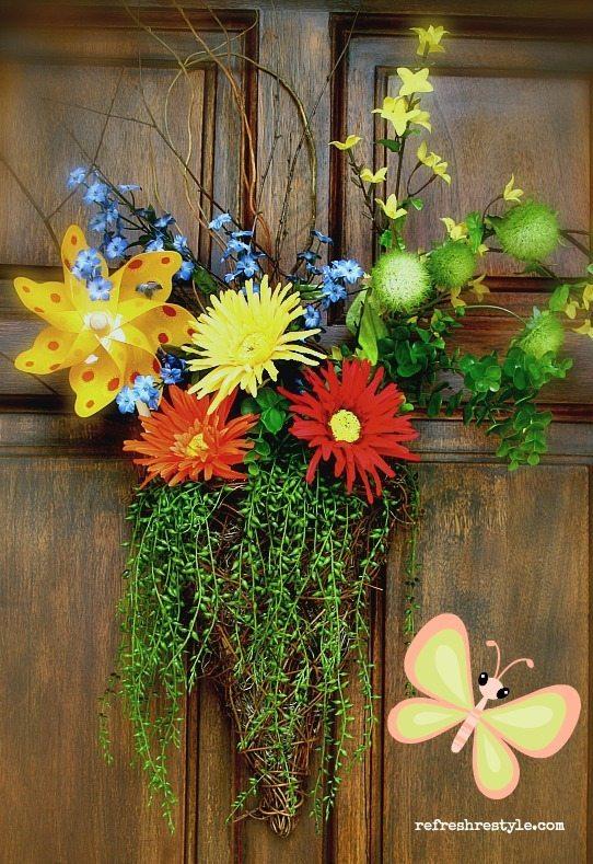 Summer Wreath with Pinwheel