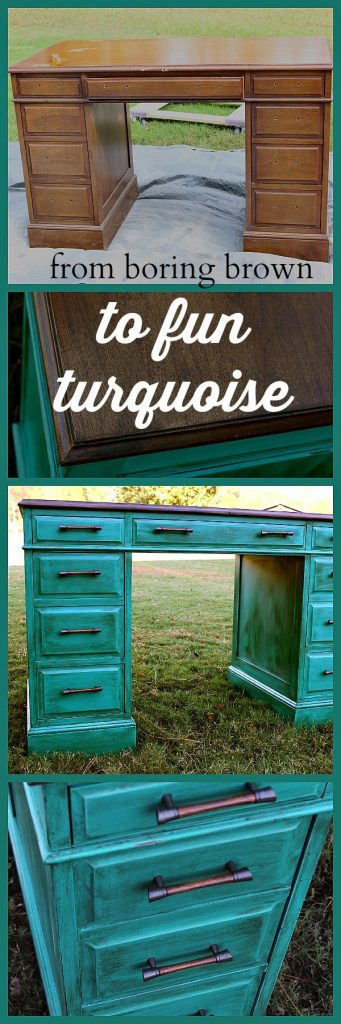 Turquoise Desk Makeover