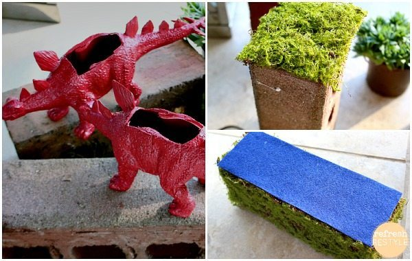 dino book ends with succulents