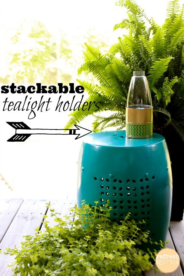 tealight holder gold and green and stackable