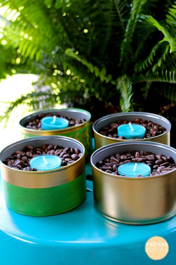 tealight holders with coffee beans