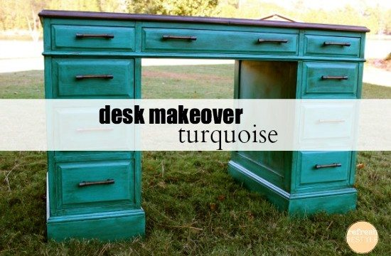 Turquoise desk makeover #paintedfurniture