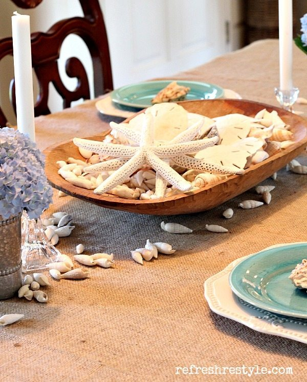 Coastal Tablescape with a wooden dough bowl.