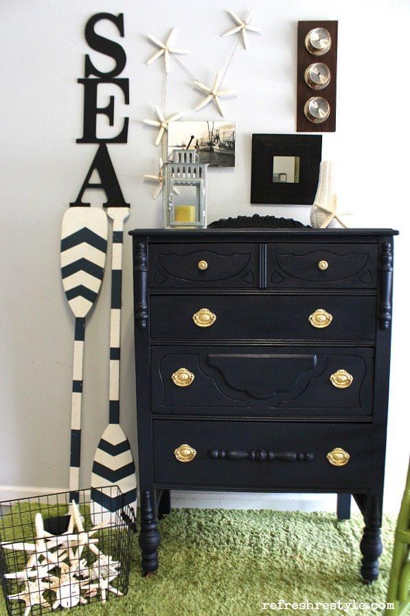 Navy Maison Blanche furniture paint #maisonblanchepaint  #paintedfurniture #ad