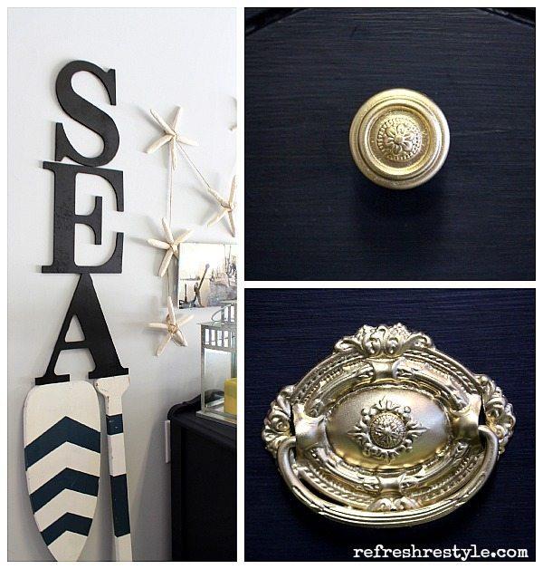 Navy Goldhardware #maisonblanchepaint  #paintedfurniture #ad
