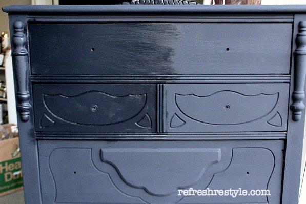 Navy Light Brown Wax #maisonblanchepaint  #paintedfurniture #ad