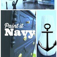 Navy #maisonblanchepaint #paintedfurniture #ad