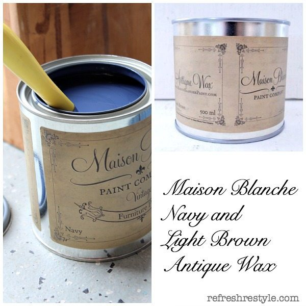 Navy and Light Brown Wax #maisonblanchepaint  #paintedfurniture #ad