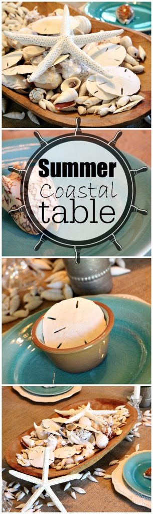 Summer Coastal Table seashells, aqua, starfish, sand dollars #coastaldecor #beachinspired #summer
