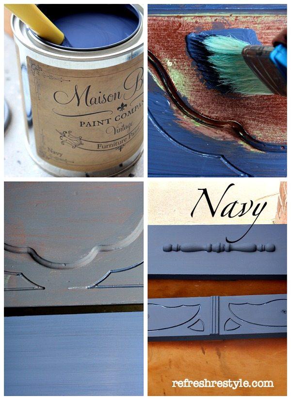 Navy Chest Makeover #maisonblanchepaint  #paintedfurniture #ad