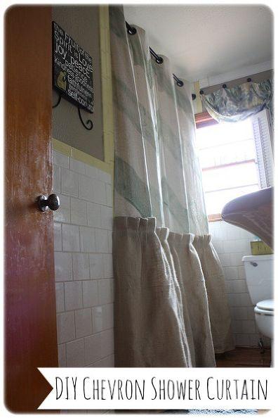DIY Chevron and Burlap Shower Curtain - DIY Shower Curtains