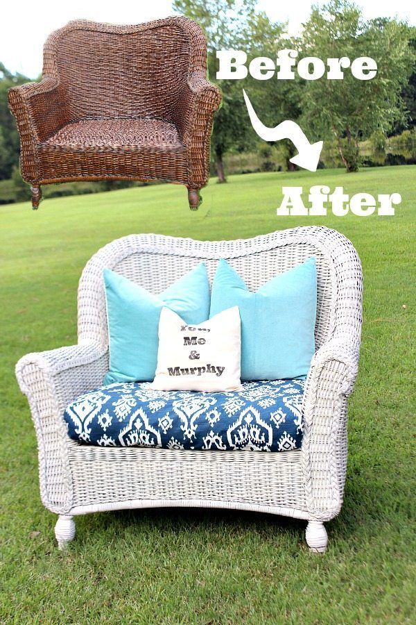 How to spray paint wicker - easy update for thrifty furniture finds