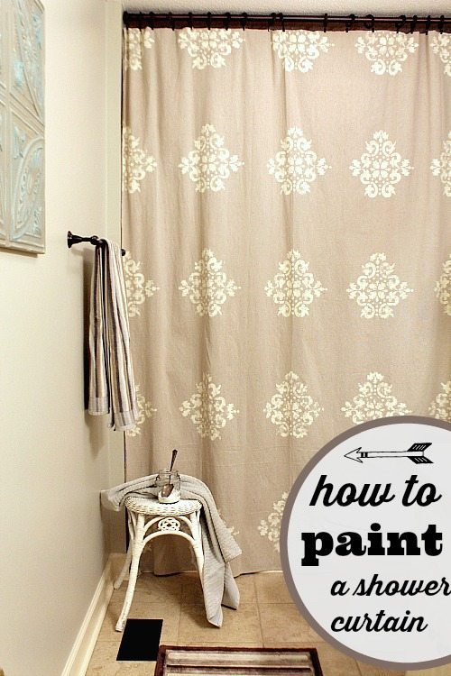 How to paint a shower curtain #diyshowercurtain