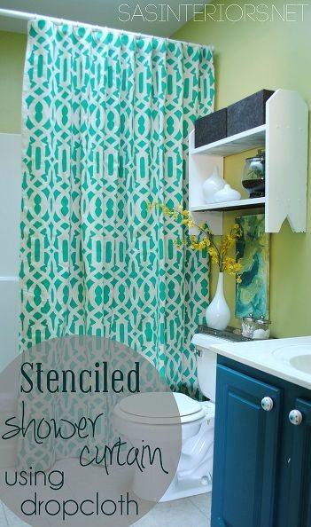 Stenciled Shower Curtain Idea - DIY Shower Curtains