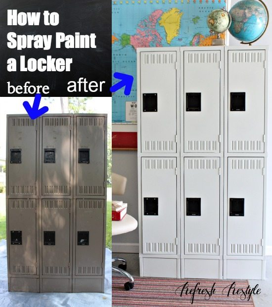 How to spray paint an old locker!