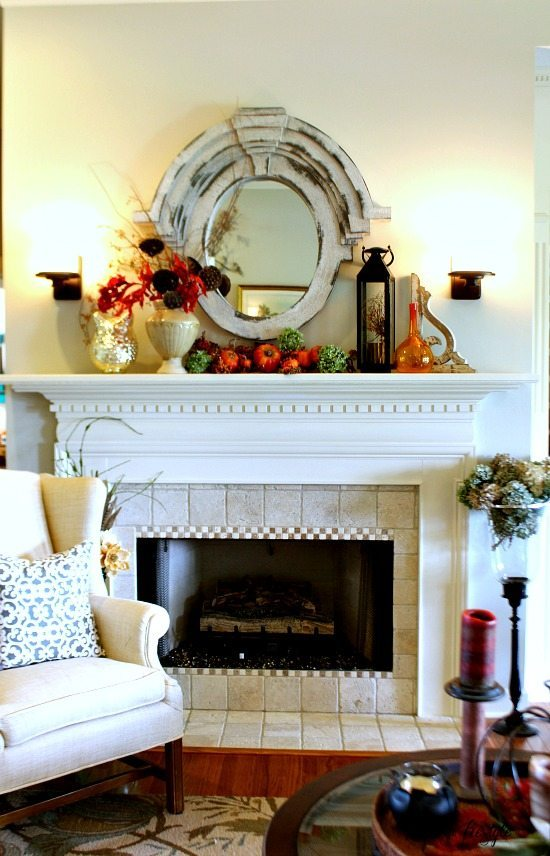Fall Tour Mantel #fall #mantel #autumn