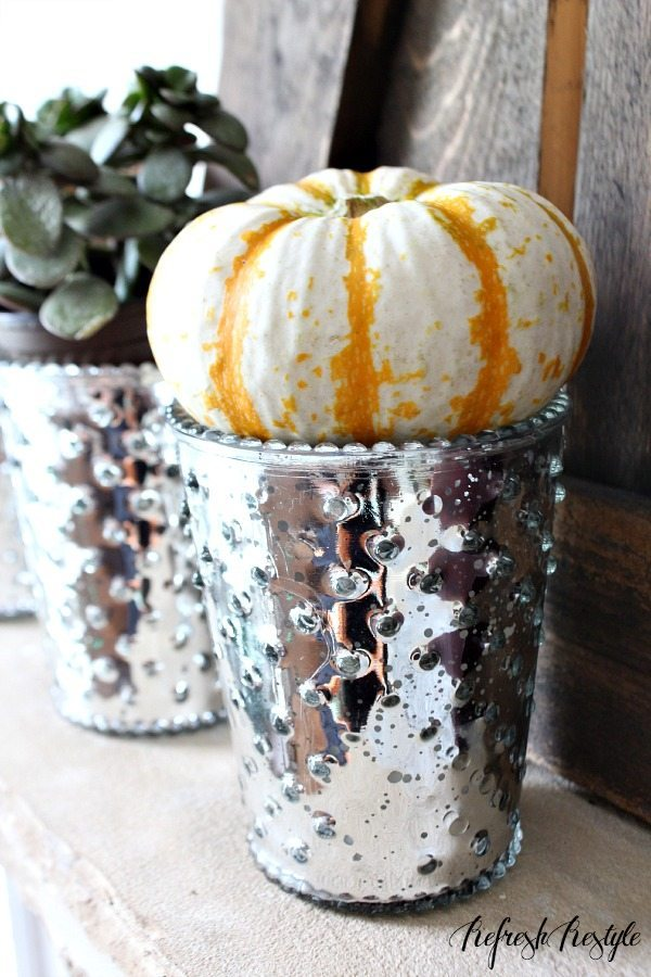 Fall Mantel #fall #mantel #mercuryglass