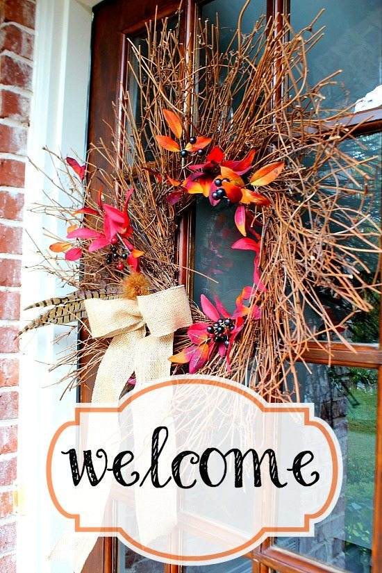 Fall is in the air, double door fall decor #diy #door #decor
