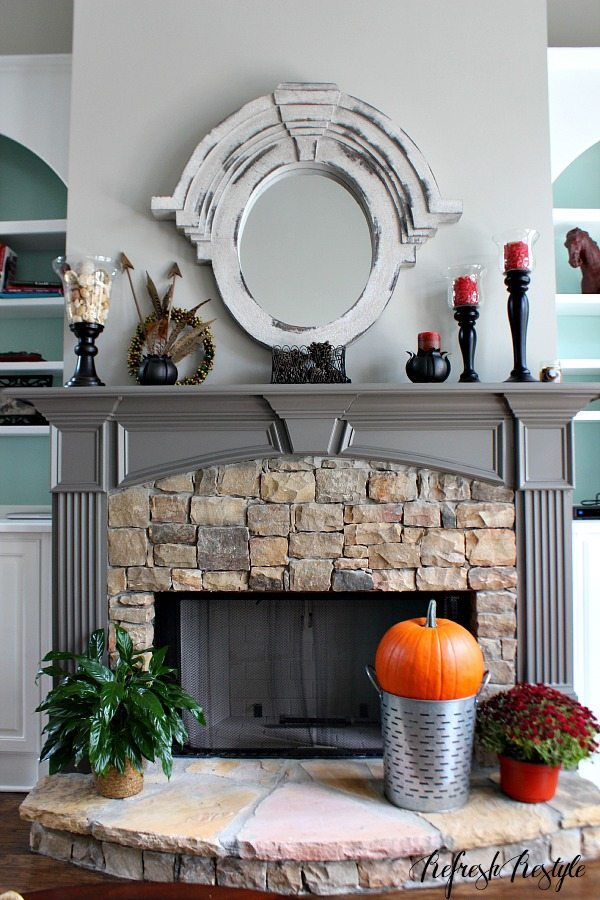 Fall Fireplace decor #fall #fireplace #mantel