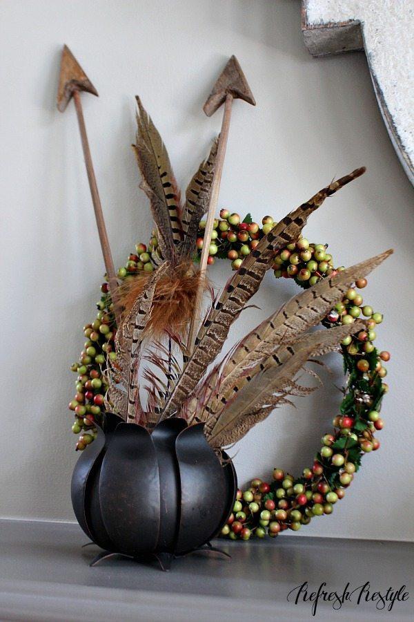 Fall Mantel #arrows #feathers