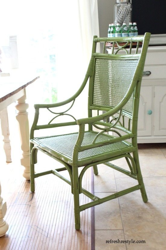 DIY Painted Chair green - rust-oleum