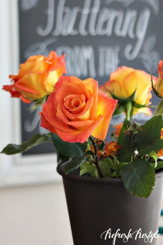 Fall Dining table #fall #roses #diy
