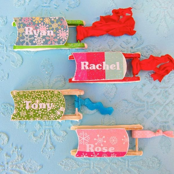 04 - Mod Podge Rocks - Personalized Sled Ornaments