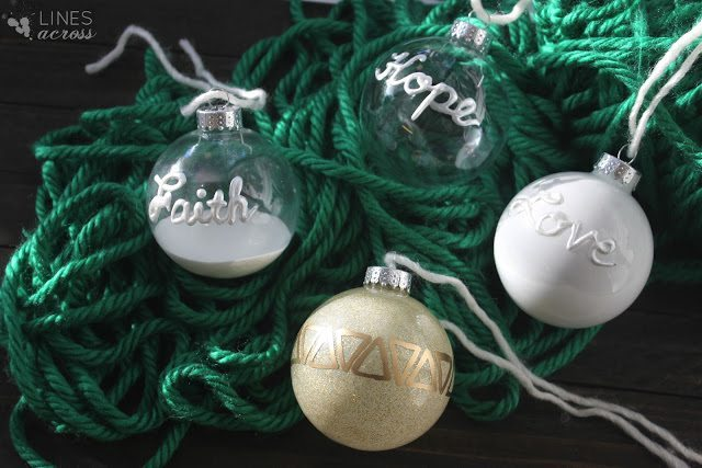 09 - Lines Across - Faith Hope and Love Ornaments
