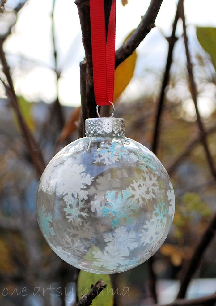 10 - One Artsy Mama - Snowflake Stenciled Ornaments