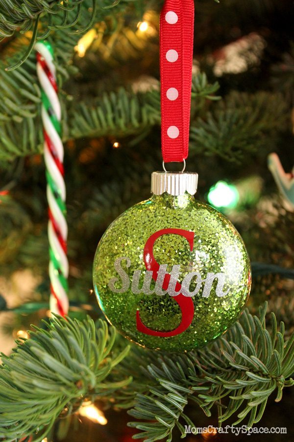 12 - Happiness is Homemade - Personalized Glitter Ornaments
