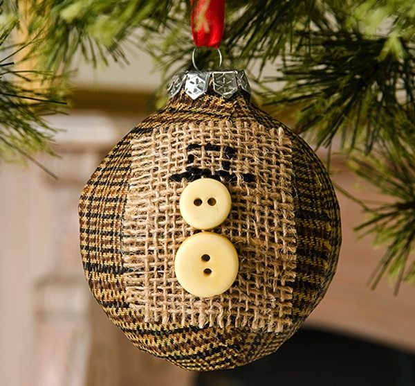 14 - Mod Podge Rocks - Button Snowman Ornament