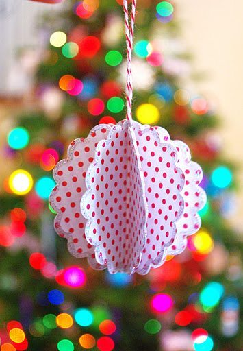23 - Happiness is Homemade - Scalloped Paper Ball Ornament