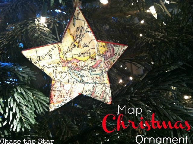 25 - Chase the Star - Map Christmas Ornament