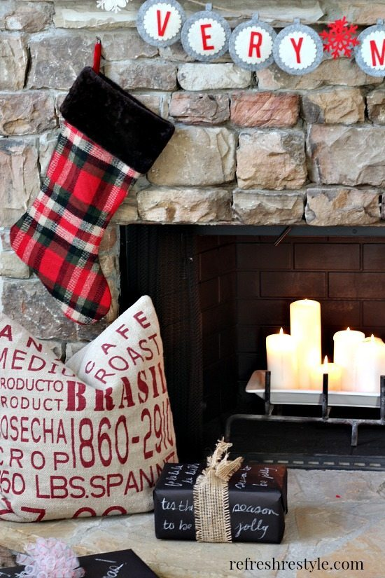 Christmas Mantel Plaid Stockings