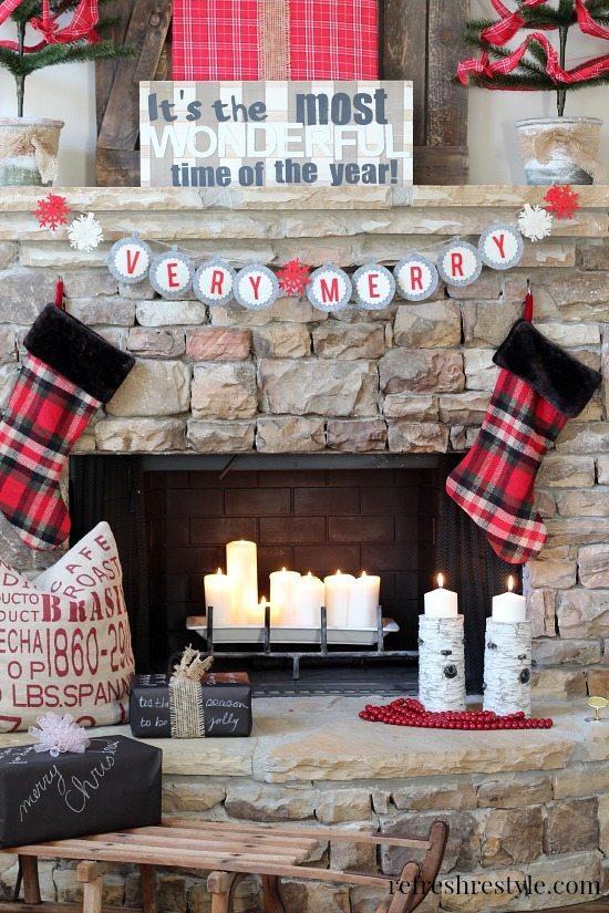 Christmas Mantel Plaids