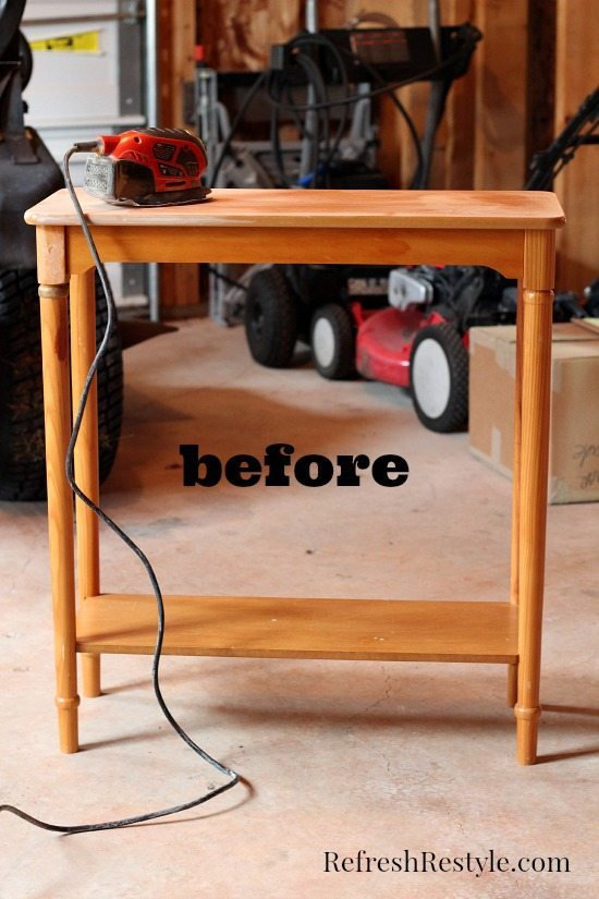 Free table before being painted with red.