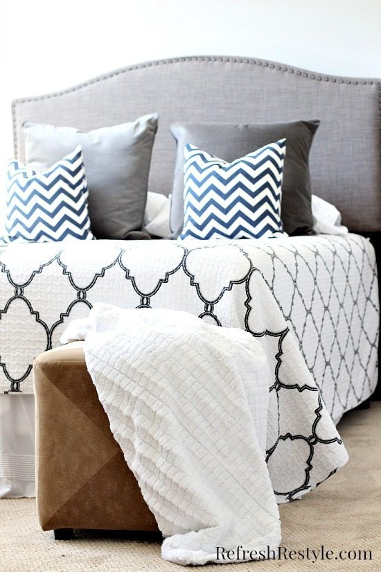 Guest Room Gray Nailhead Headboard Better Homes and Gardens