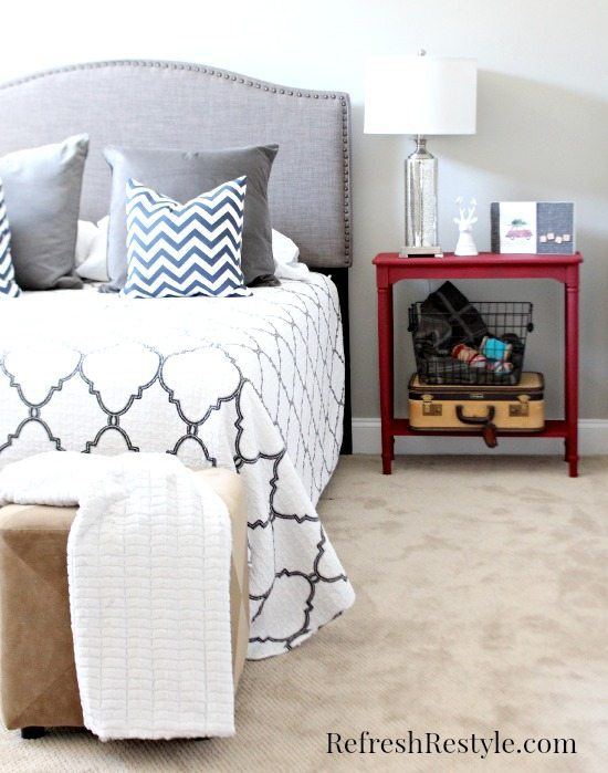 Guest Room in Grays and Red