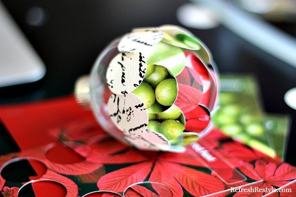 Handmade ornament with glue gun and paint chips
