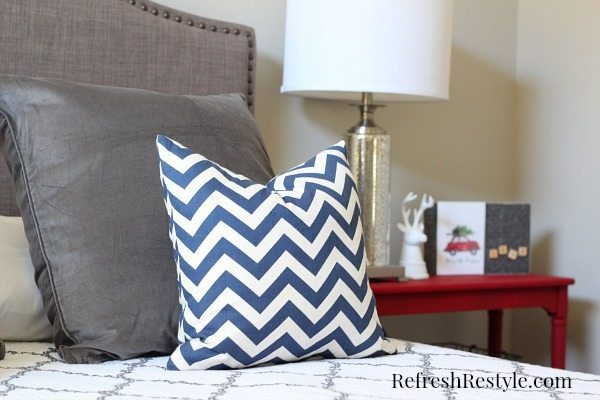 Pop of Red in the guest room
