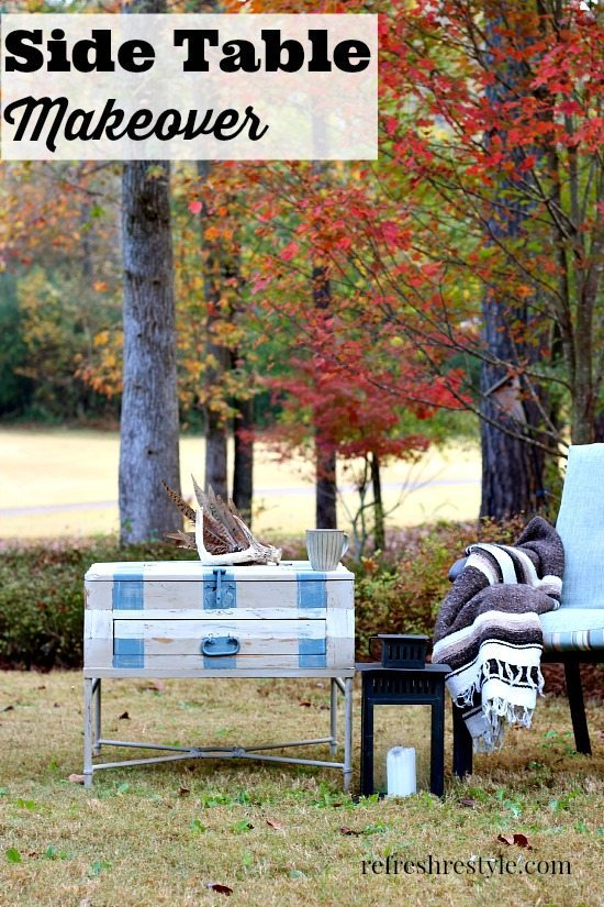 DIY Side Table Makeover Plaid Painted Furniture