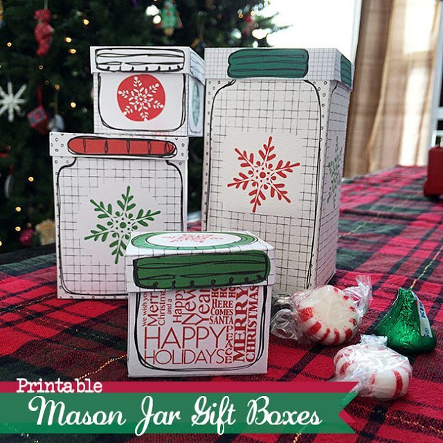 Country Chic Cottage - Printable Mason Jar Gift Boxes